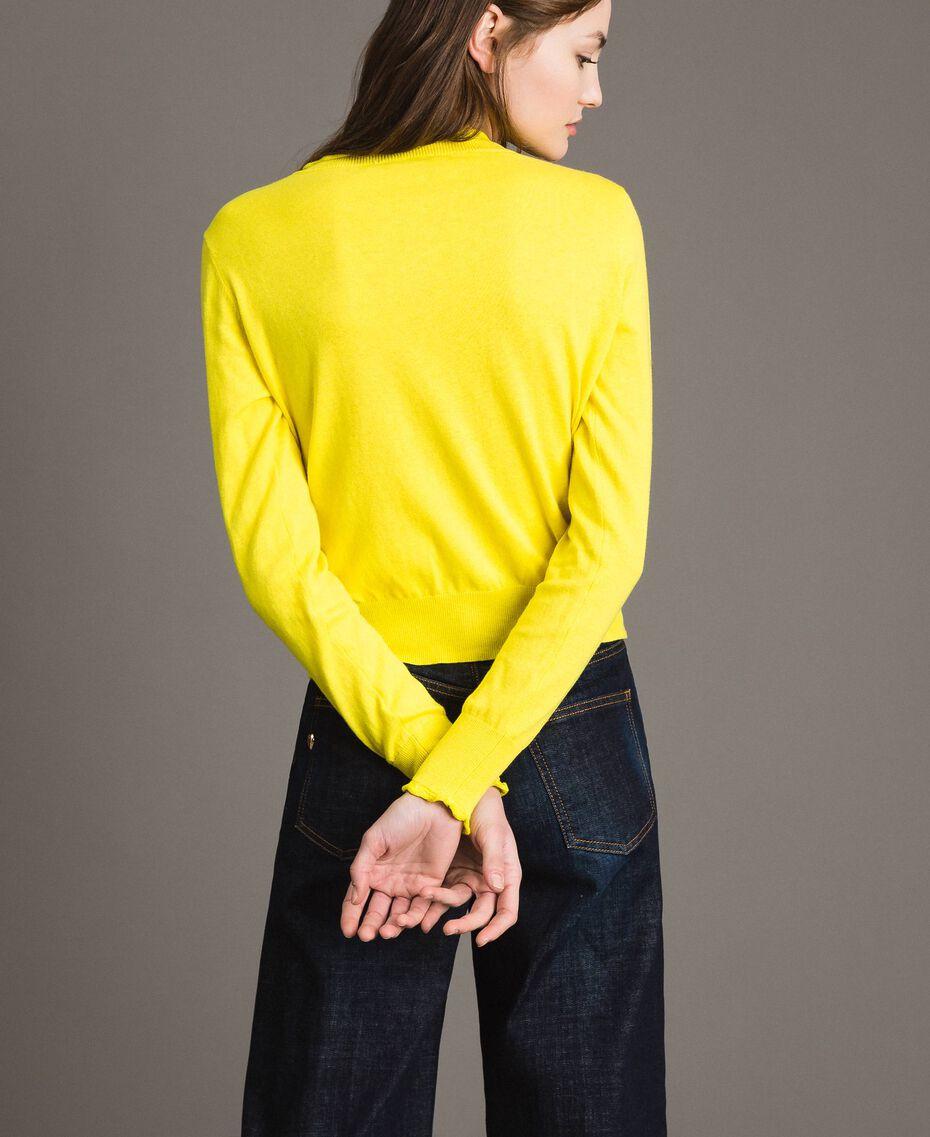 Cashmere blend mandarin collar top Yellow Woman 191TP306A-03