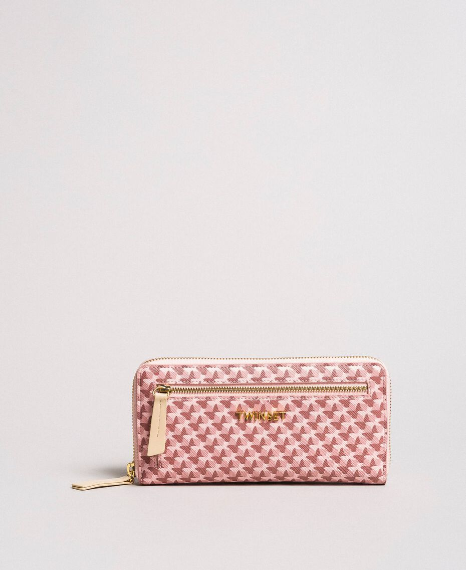Printed wallet with all-over butterflies Pearl Pink Butterflies Print Woman 191TA7177-02