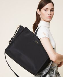 Satin Twinset Bag shopper with shoulder strap Black Woman 202TB7200-0S