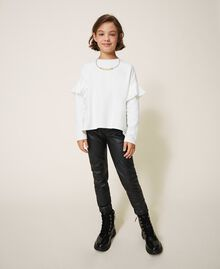 Sweatshirt with ruffle and jewel necklace Mother Of Pearl Child 202GJ2471-01