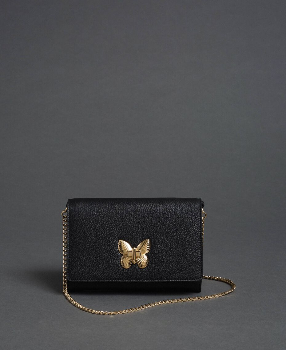 Small shoulder bag with butterfly shaped turn lock Black Woman 192TA7022-01