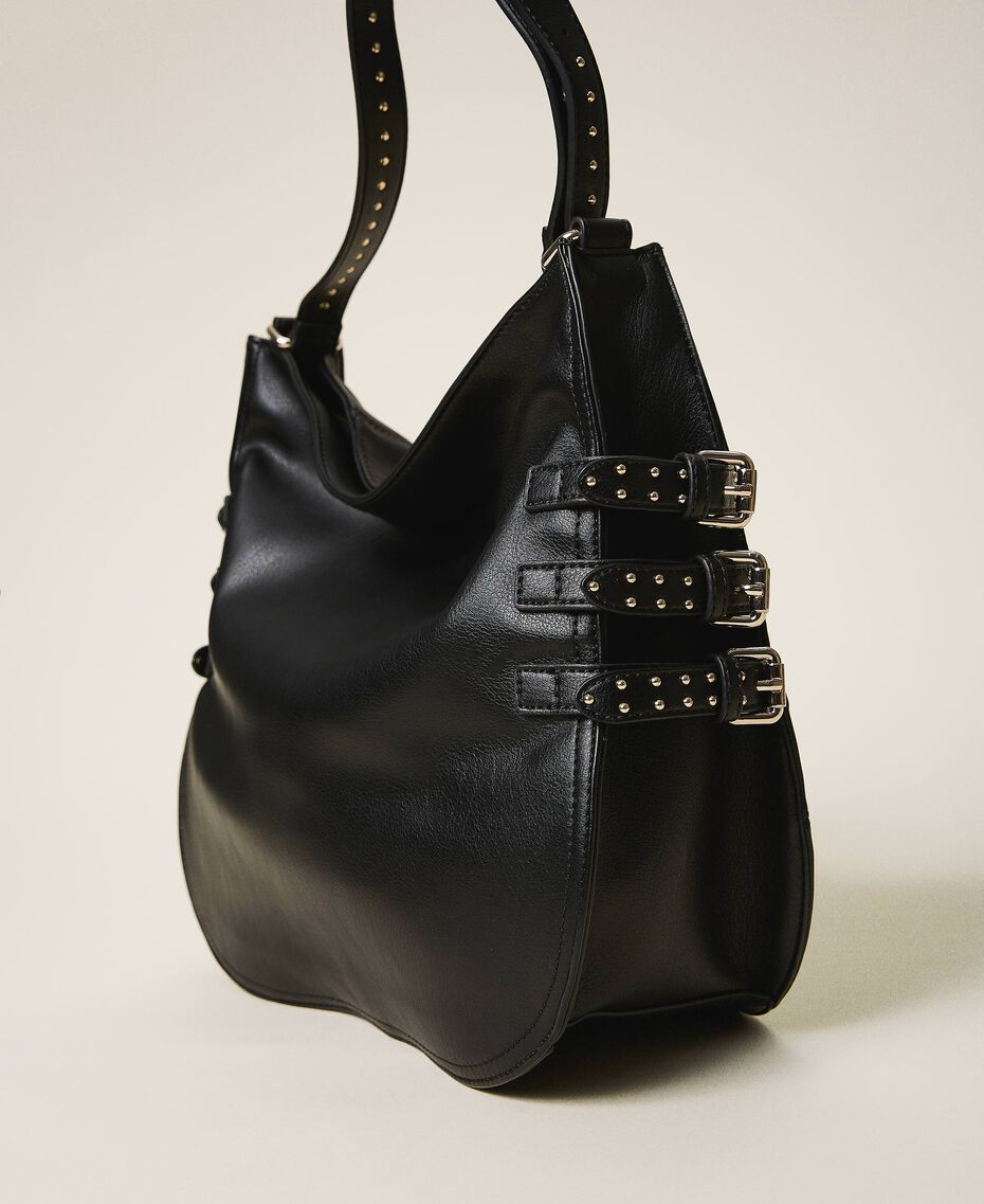 Faux leather hobo bag with straps Black Woman 202MA7041-03