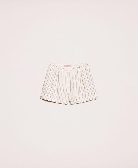 Pin stripe linen shorts