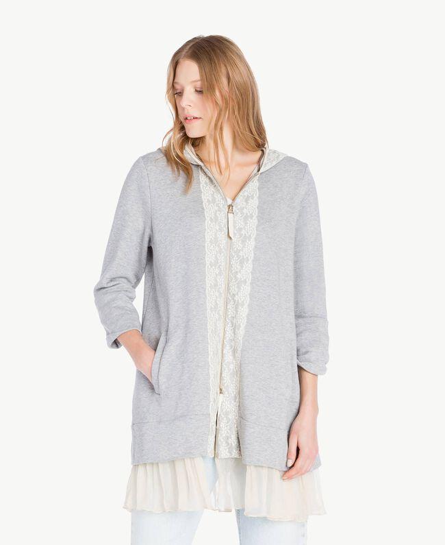 Maxi sweat-shirt Gris clair chiné Femme PS82UP-01