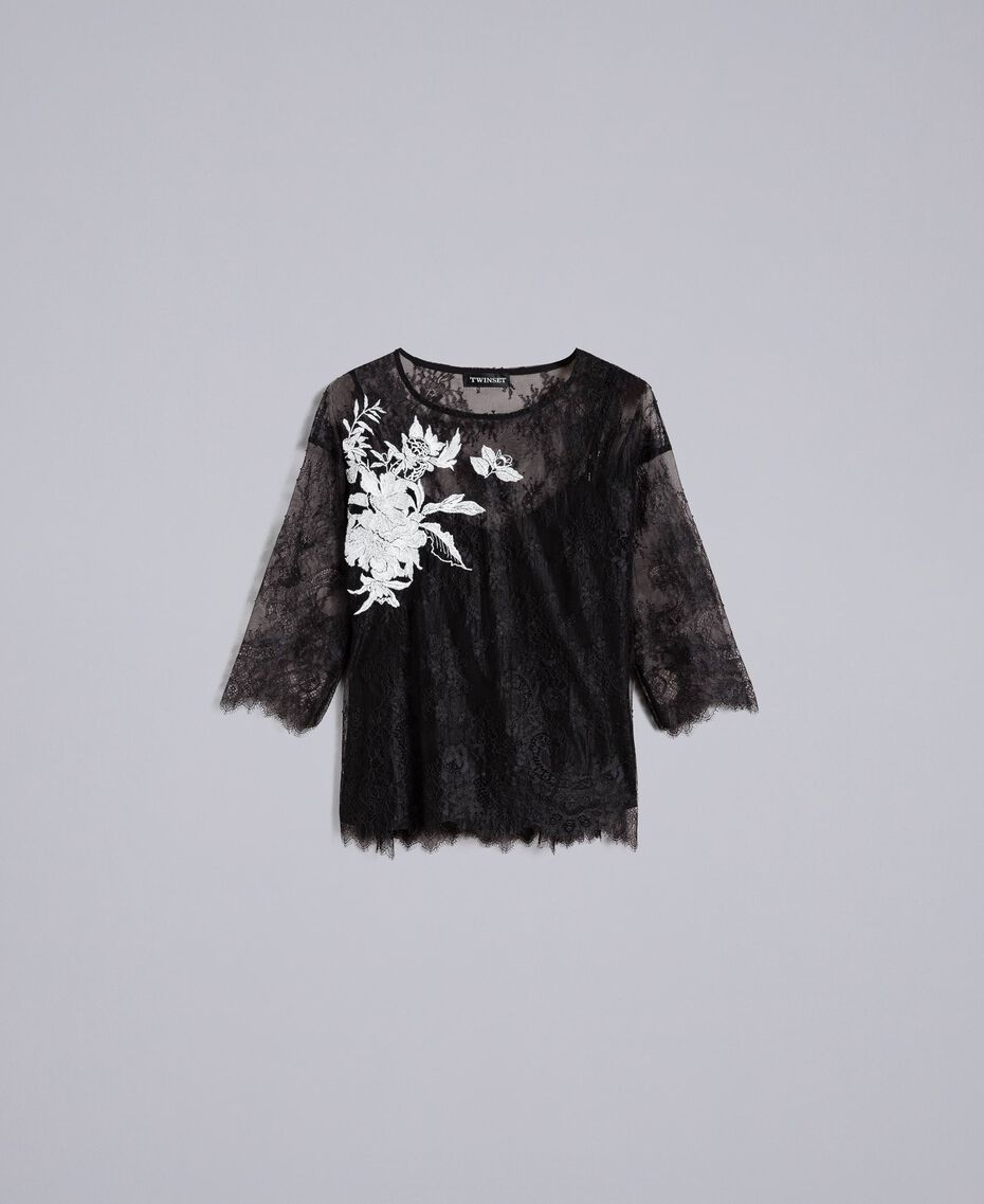 Valencienne lace blouse Black Woman PA824S-0S