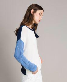 Pullover im Color-Block-Look mit Schleifenbrosche Multicolour Indigo / Weiß / Hortensienpink Frau 191MP3091-02