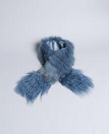 Étole tricotée en fourrure Bleue poudre Femme AA8P9D-01