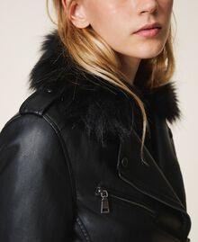 Faux leather biker jacket Black Woman 202MP2090-04