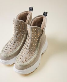 """Suede ankle boots with rhinestones Two-tone """"Optical"""" White / """"Topaz"""" Beige Woman 202MCP014-01"""