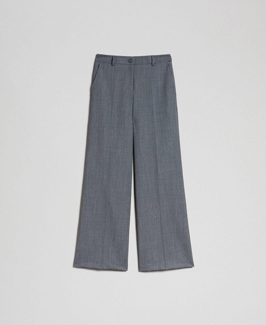 Wide-Leg-Hose aus technischem Wollgewebe Dunkelgrau-Mélange Frau 192TP2351-0S