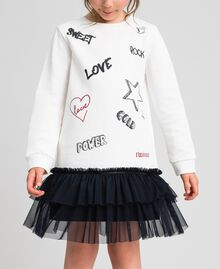 Dress with tulle, mesh and lace flounces White / Black Child 192GJ2431-01