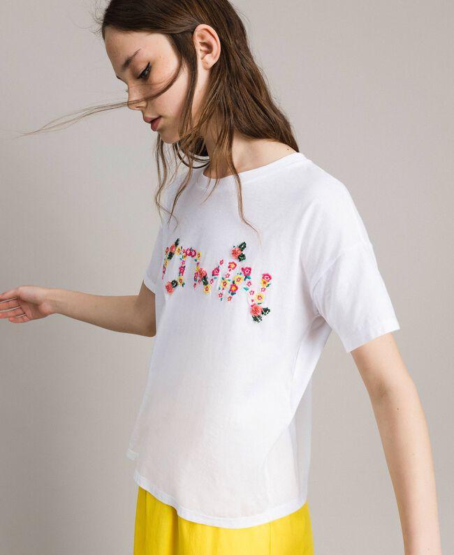 T-Shirt mit gesticktem Logo White Sahne Frau 191MP2061-03