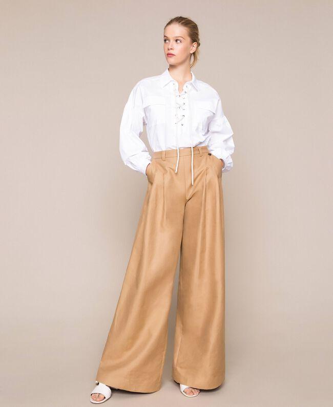 Weite Hose aus Leinenmischung Dünenbeige Frau 201TP2257-01