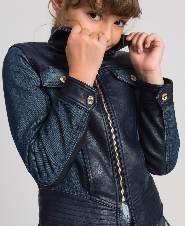 Giacca in jeans e similpelle Blue Night Bambina 192GJ2050-04