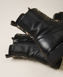 Leather combat boots with studs Black Woman 202TCP146-02