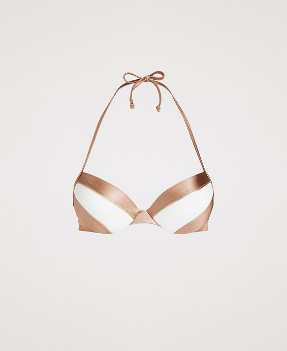 Colour block push-up bikini top