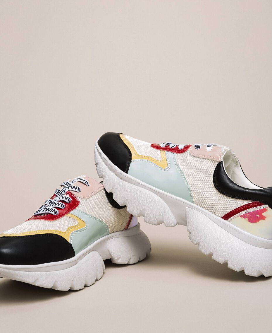 """Patent leather and mesh running shoes Multicolour """"Venetian Red"""" / """"Iris"""" Green Woman 201MCP106-03"""