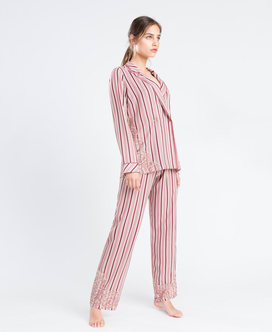 "Striped pyjamas with lace Multicolour ""Baroque Rose"" Pink Stripe Woman IA8DNN-02"