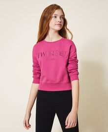 Sweatshirt with logo embroidery Dark Fuchsia Child 202GJ283A-05