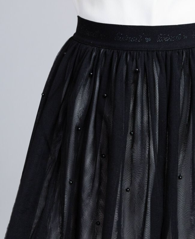 Gonna in tulle con perle Bicolor Nero / Off White Bambina GA82JE-04