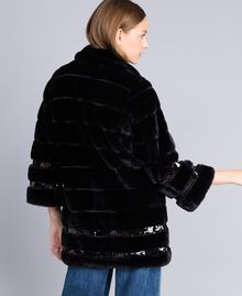 Faux fur sequin coat Black Woman PA82KB-03