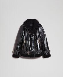 Patent leather effect faux shearling biker jacket Black Woman 192MT2030-0S