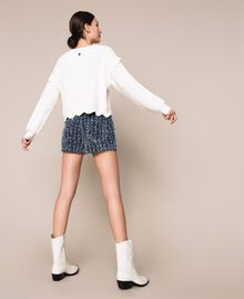 Shorts in jeans con bouclé Denim Blue Donna 201MP234C-03