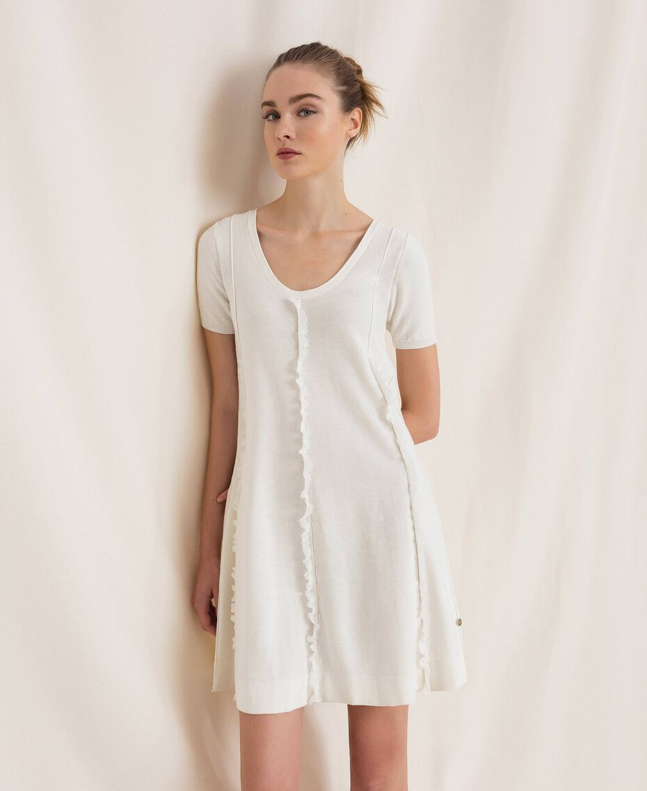 Dress with stitching and frills White Woman 201ST3066-05