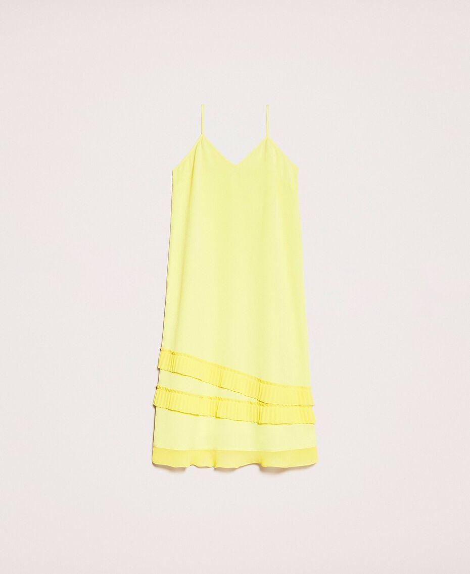 """Abito sottoveste in crêpe de Chine plissé Giallo """"Light Lemon"""" Donna 201ST2015-0S"""