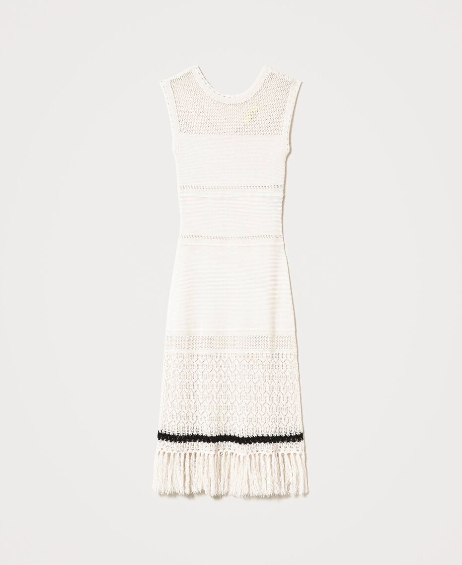 """""""Polis"""" midi dress with embroideries and fringes Vanilla / Black Woman 211MT3180-0S"""