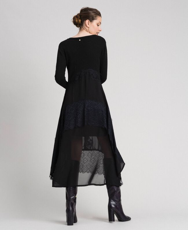 Knit and georgette long dress with lace Black Woman 192TT3080-03