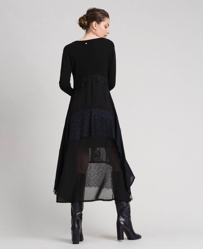 Robe longue en maille et crêpe georgette avec dentelle Noir Femme 192TT3080-03