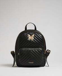 Quilted leather backpack with jewel-butterfly Black Woman 192TA7100-02