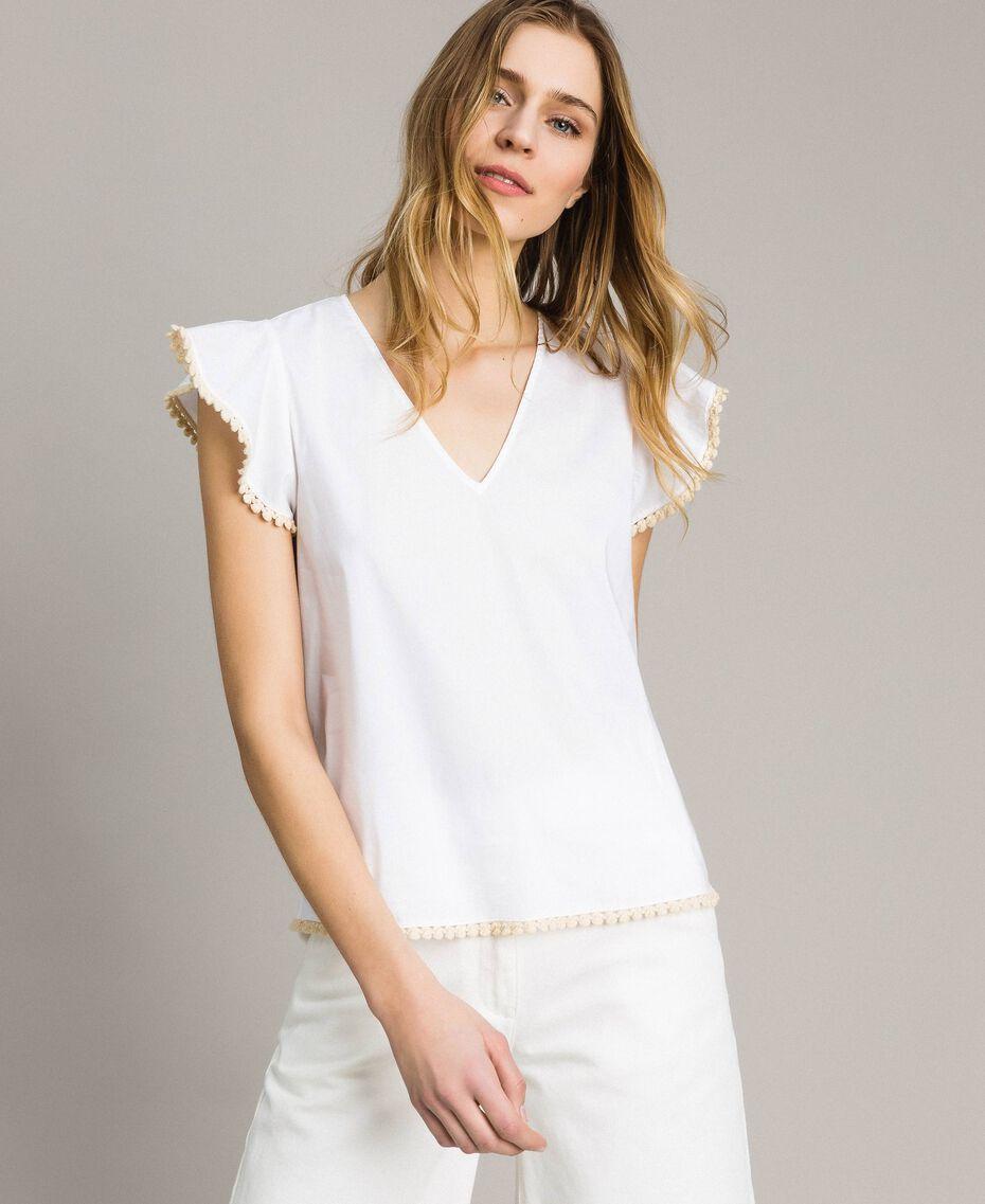 Poplin T-shirt White Woman 191LB2JDD-01