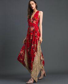 Kleid aus Georgette mit Blumen-Animal-Print Feldblumenprint Granatapfel Frau 192TP2750-02