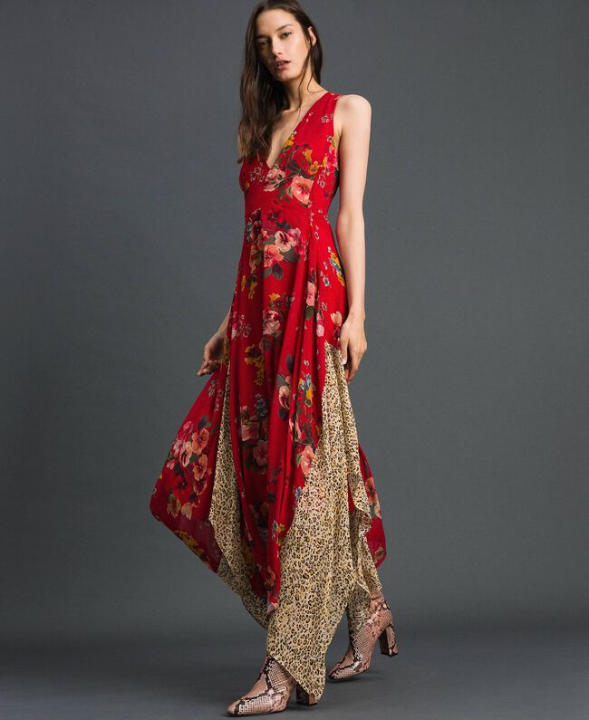 7b79629c1b6922 Georgette dress with floral and animal print Pomegranate Meadow Print Woman  192TP2750-02