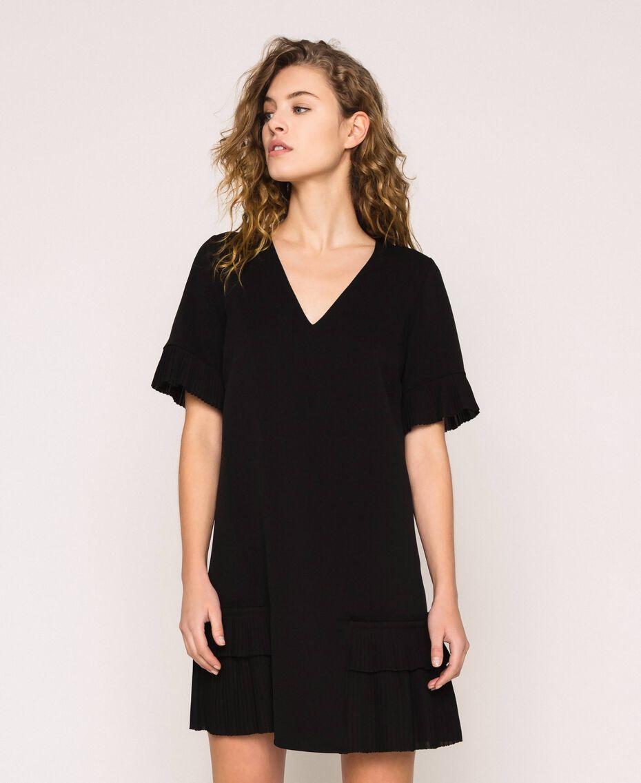 Платье из жоржета с плиссировкой Черный женщина 201TP2026-02