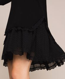Knitted dress with broderie anglaise flounce Black Woman 201TP3041-04