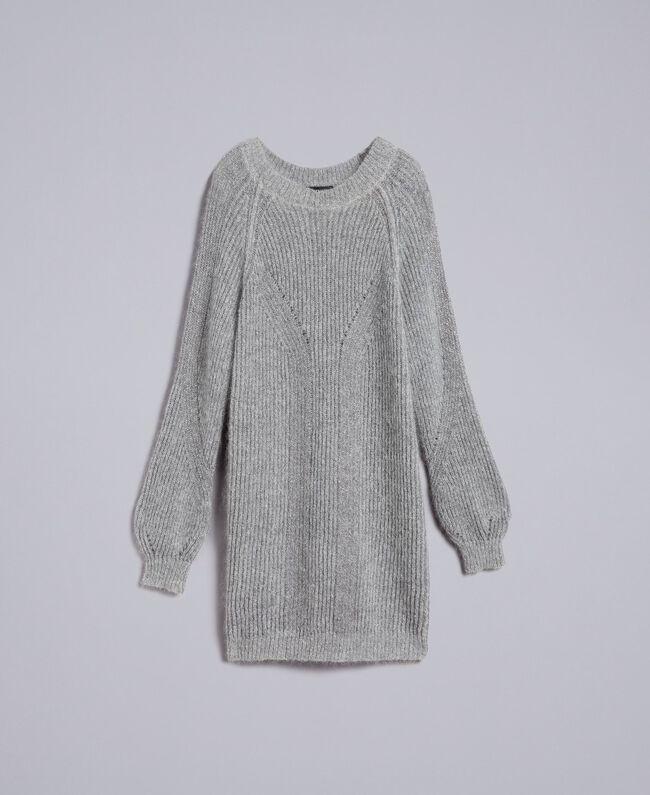 0c1153544d0915 Maxi lurex and mohair jumper Grey Silver Lurex Melange Woman TA832E-0S