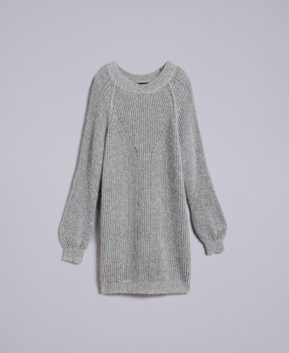 Maxipullover aus Lurex und Mohair Graumelange / Silber Frau TA832E-0S