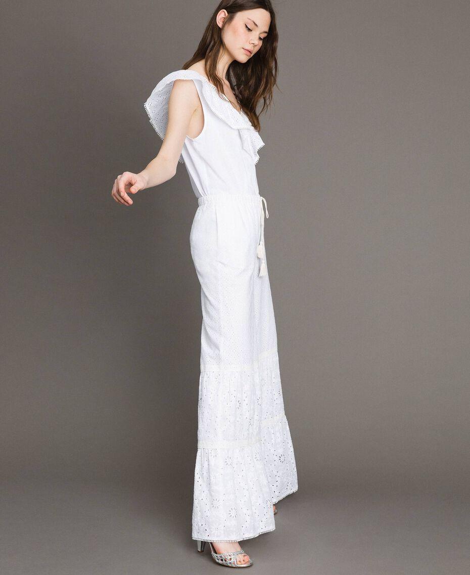Pantalon en broderie anglaise avec cordon à la taille Blanc Femme 191MT2034-02