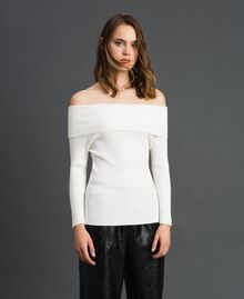 Ribbed jumper with plunge neck Papyrus White Woman 192TP3091-04
