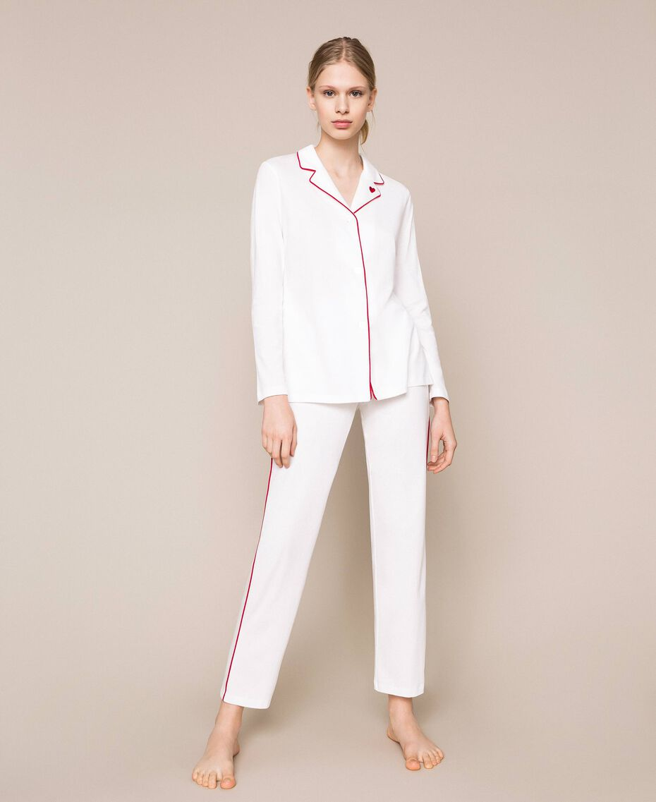 """Pyjamas with contrasting details Two-tone Ivory / """"Pomegranate"""" Red Woman 201LL23DD-01"""