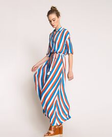 "Long striped shirt dress Multicolour ""Bay"" Blue / ""Choco"" Brown / Optical White Woman 201LM2FBB-02"