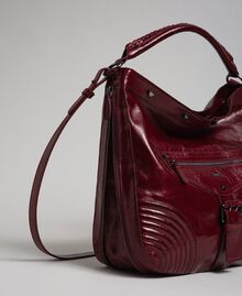 Crackled effect leather hobo bag with studs Beet Red Woman 192TA7236-02
