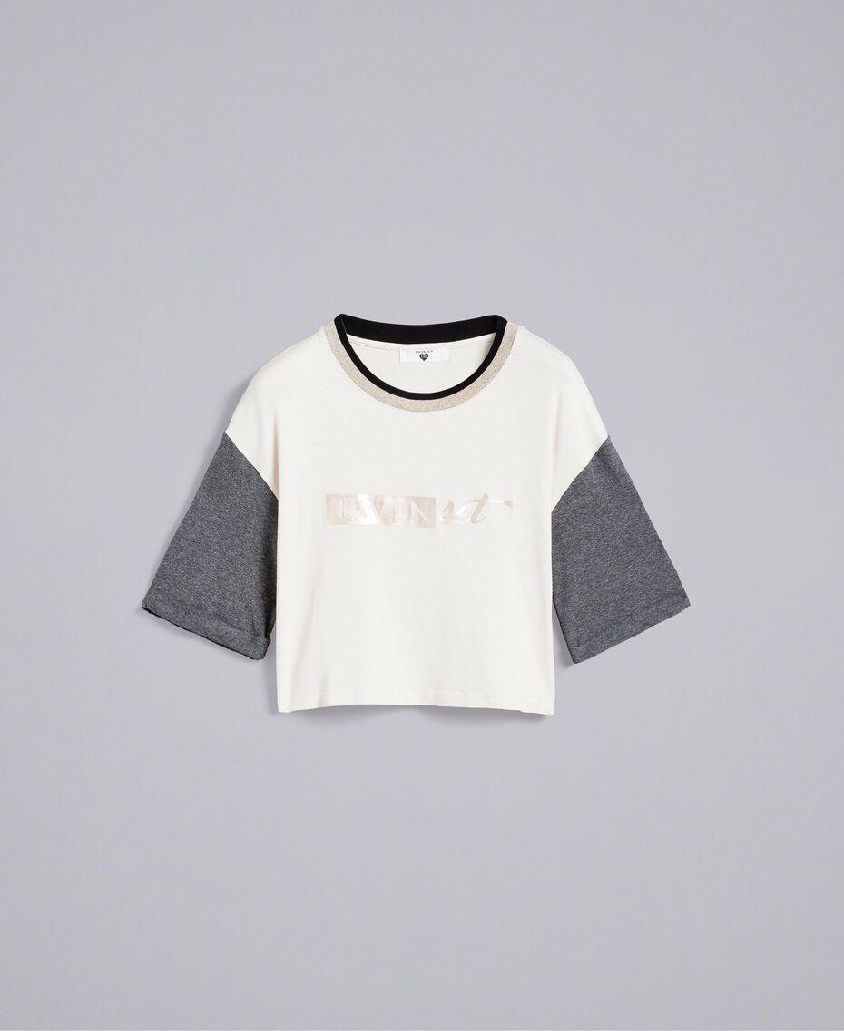 Cropped-T-Shirt aus Jersey Zweifarbig Weiß / Graumelange Frau IA81JJ-0S