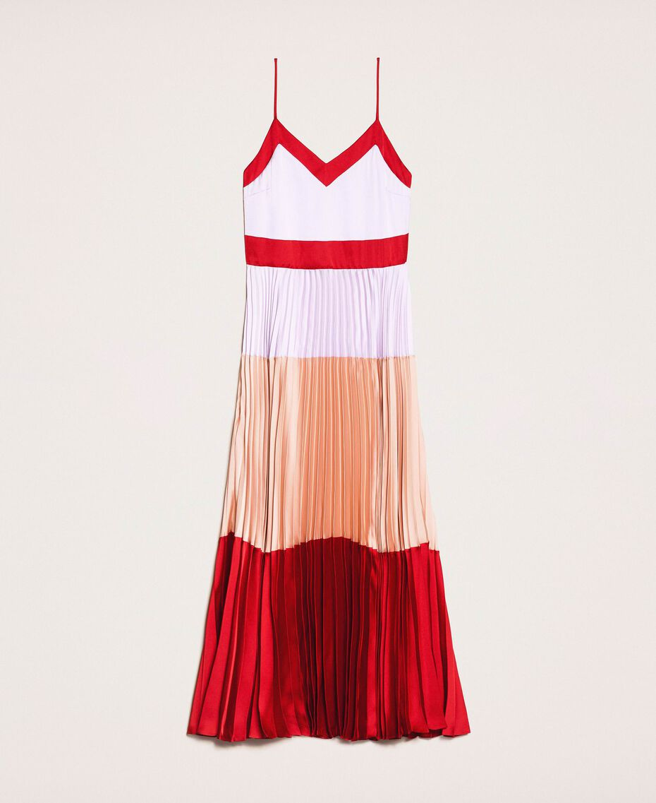 "Pleated satin long slip dress Multicolour ""Lava"" Red / ""Ballerina"" Purple / Nude Pink Woman 201TP2310-0S"