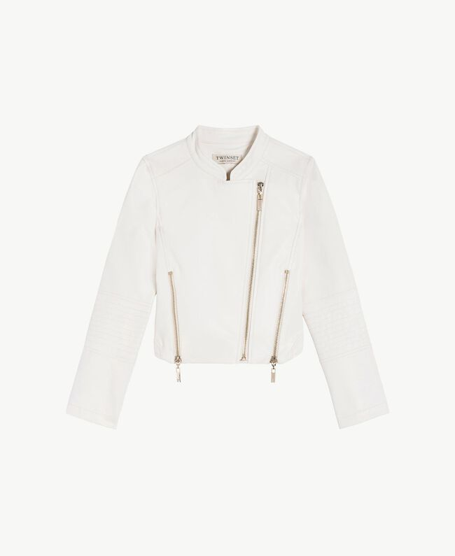 Faux leather biker jacket Pale Cream Child GS82DA-01