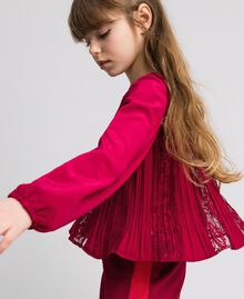 Pleated crêpe and lace blouse Ruby Wine Red Child 192GJ2520-04