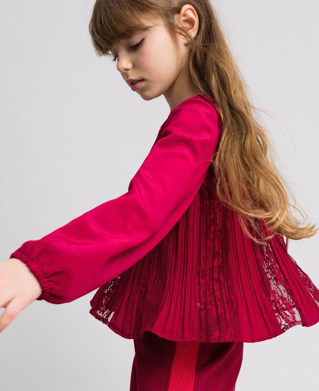 Blouse en crêpe plissé et dentelle Rouge Ruby Wine Enfant 192GJ2520-04